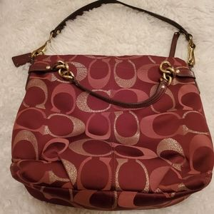 Coach red and gold shoulder bag